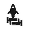rocket commitment teamwork together black logo vector image vector image