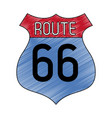 route 66 roadsign symbol scribble vector image vector image