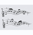 row musical notes and chords black color on vector image