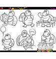 school turtle set cartoon coloring page vector image