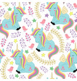 seamless pattern with unicorn and bird vector image vector image