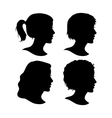 set female cameo silhouettes vector image