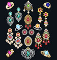 set jewelry with precious stones earrings vector image