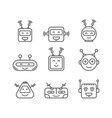 set outline robot icons vector image
