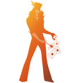 silhouette magician wearing top hat holding vector image vector image