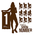 Silhouette woman show number vector | Price: 1 Credit (USD $1)