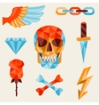 Skull and elements with colored geometric design vector image
