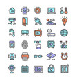 smart home signs color thin line icon set vector image vector image