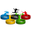 sportive silhouettes on colorful rings vector image vector image