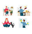 stay home hobbies people cartoon characters vector image