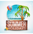 Summer Holiday typographic on vintage wood vector image vector image