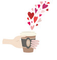 valentine s day man hand holding paper coffee cup vector image vector image
