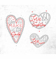 valentines day flat hearts grey vector image