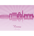 Verona skyline in purple radiant orchid vector image vector image