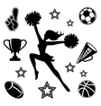 Young cheerleader with associated icons vector image vector image