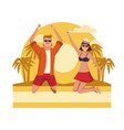 young people jumping at beach vector image vector image