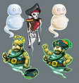 set of three figures of pirates and two ghosts vector image