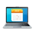 Calendar icon on the screen of laptop monitor vector image