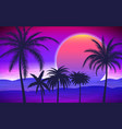 palm trees on tropical sunrise vector image