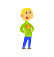 boy in knitted sweater with letter a in heart vector image