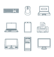 dark outline computer gadgets icons vector image