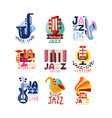 logos set for jazz festival or live concert vector image
