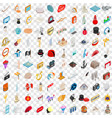 100 art icons set isometric 3d style vector image vector image