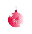 a christmas ball with pink bow icons vector image