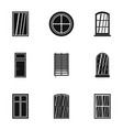 architectural window icon set simple style vector image vector image