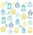 Birds and Birdcages Background vector image vector image
