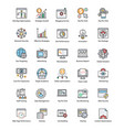 bundle of web and seo flat icons vector image
