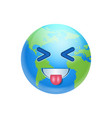 cartoon earth face laugh showing tongue icon funny vector image vector image