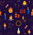 cartoon lights and flames signs seamless pattern vector image vector image