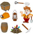 cartoon miner tools collection set vector image vector image
