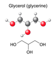 Chemical formula and model of glycerol molecule vector image vector image