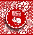 chinese new year rat or mouse with papercut flower vector image vector image