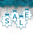 Christmas paper snowflakes with lettering sale vector image