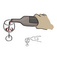 close-up hand pouring wine on glass vector image vector image