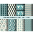 collection pixel retro seamless patterns vector image vector image