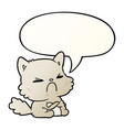 cute cartoon angry cat and speech bubble vector image vector image