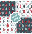 cute christmas trees seamless pattern set vector image