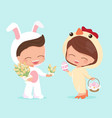 cute happy flat style young couple in easter vector image