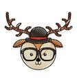 cute scribble vintage deer face cartoon vector image vector image