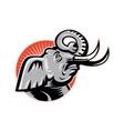 Elephant Head Side Retro vector image vector image