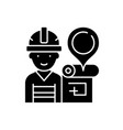 engineer and house plan black icon sign on vector image