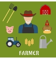 Farmer and agriculture flat icons vector image