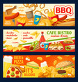 fastfood burgers and sandwiches banners vector image vector image