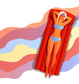 girl in bikini sunbath and relax vector image vector image