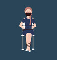 girl kidnapped tied with rope sitting woman victim vector image