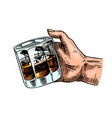 glass whiskey or scotch in hand cheers toast vector image vector image